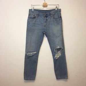 Levis 501 CT Distressed Button Fly Tapered Jeans